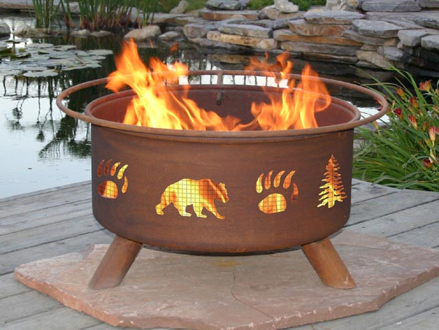 Wilderness Bear Outdoor Wood Burning Fire Pit Grill