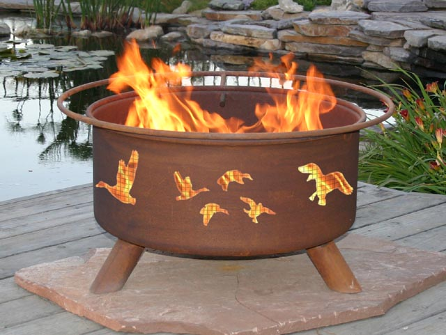 Wild Ducks Outdoor Wood Burning Fire Pit and Grill