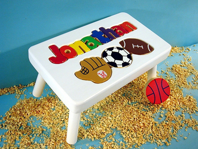 White Wooden Name Puzzle Sports Step Stool