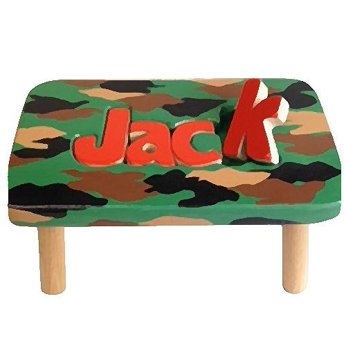 Classic Personalized Camouflage Name Puzzle Stool Single