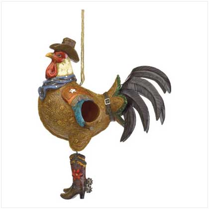 Western Cowboy Rooster Bird House
