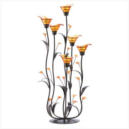 Amber Calla Lily Candle Holder