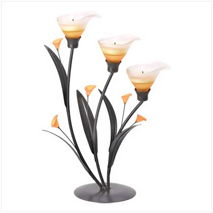 Amber Lilies Tealight Candle Holder