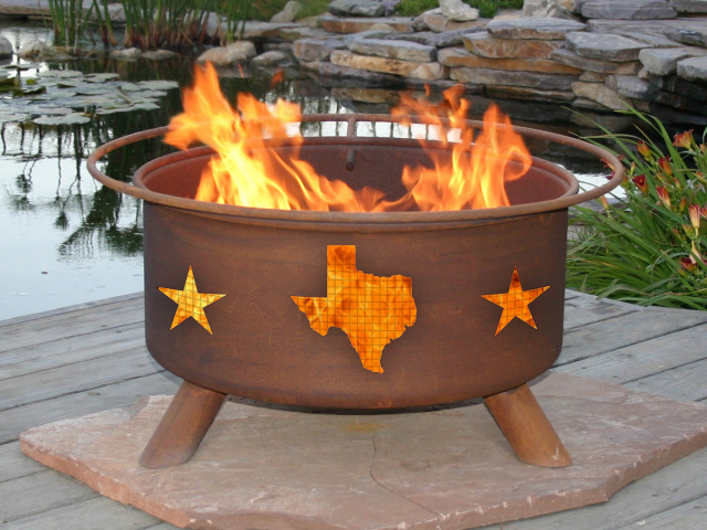 Texas State and Stars Fire Pit Grill