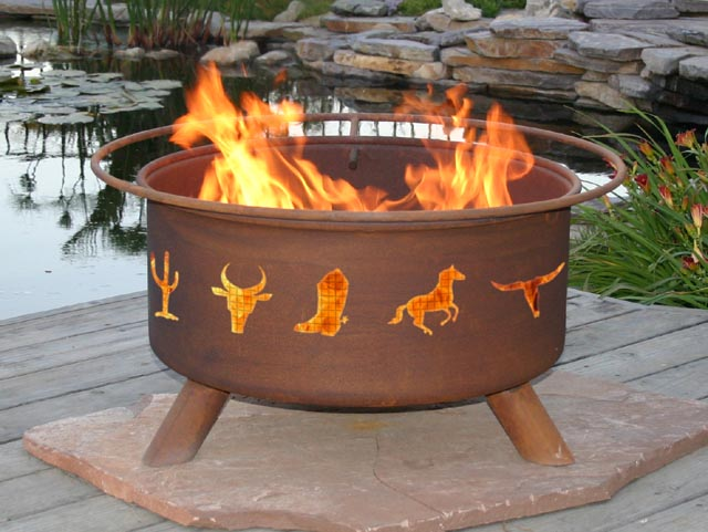 Western Cowboy Outdoor Fire Pit Grill