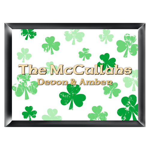 Personalized Clovers Irish Shamrock Family Sign