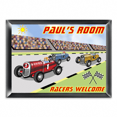 Personalized Race Car Room Door Sign