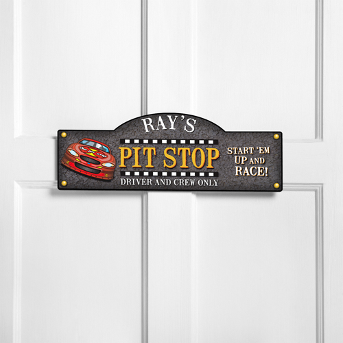 Personalized Racing Pit Stop Room Door Sign