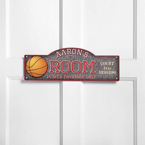 Personalized Basketball Hoops Room Door Sign