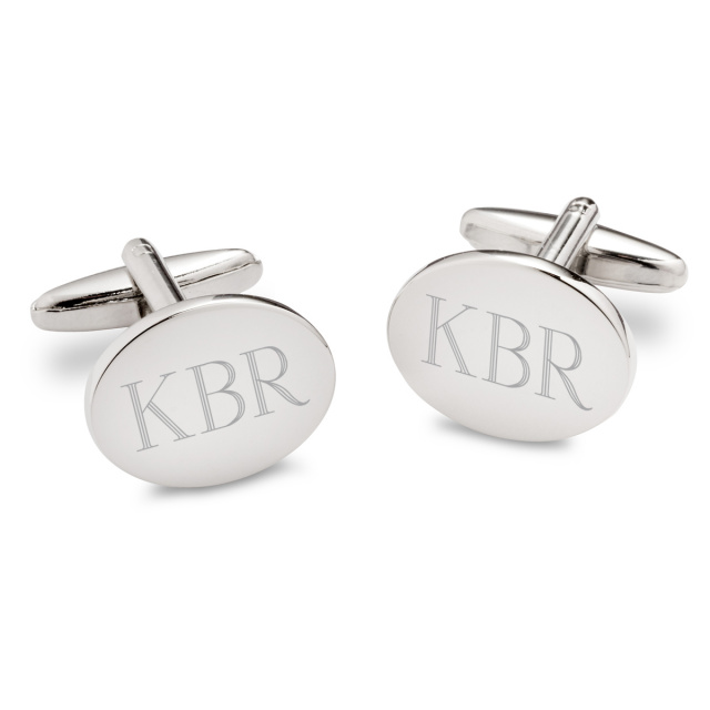Personalized Modern Oval Silver Cufflinks