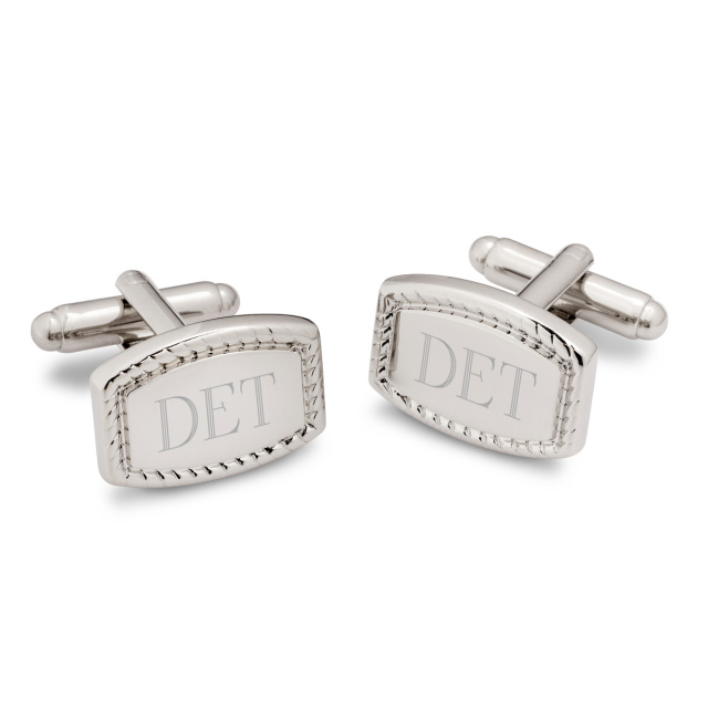 Beaded Silver Plated Rectangular Cufflinks
