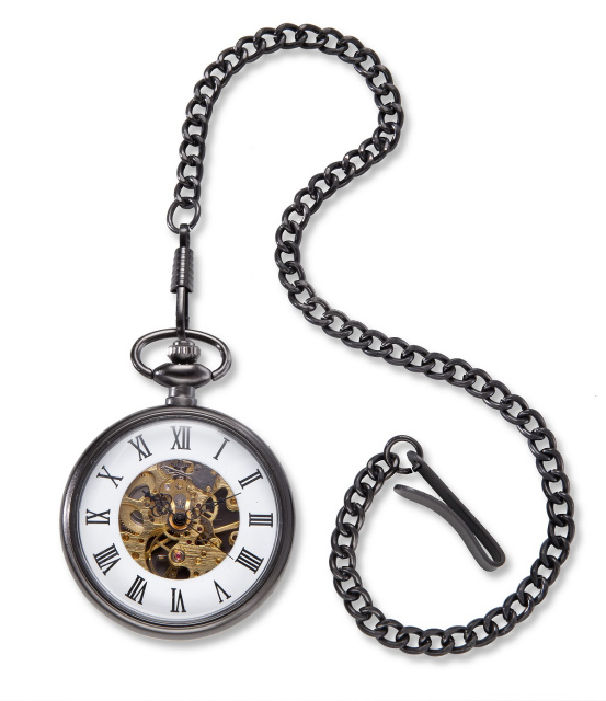 Personalized Gunmetal Gray Exposed Gears Pocket Watch