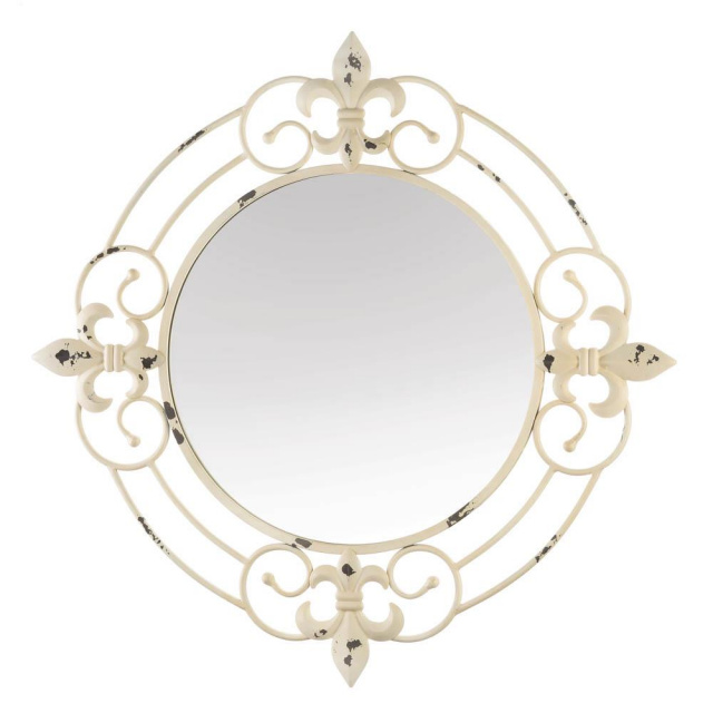 Antique Look Fleur-De-Lis Wall Mirror
