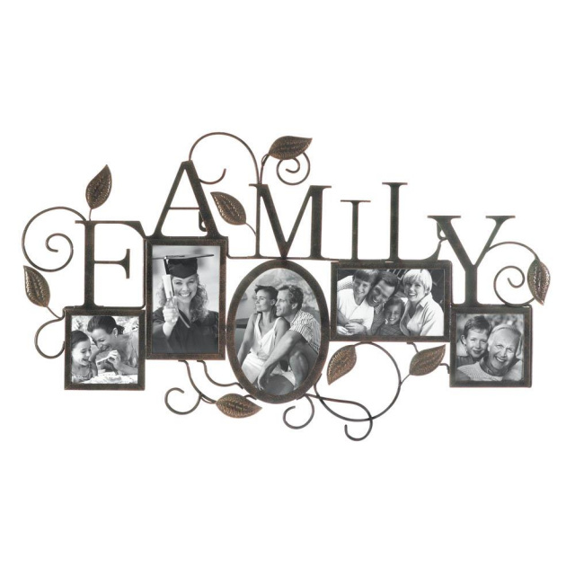 Family 5 Photo Picture Frame Wall Decor