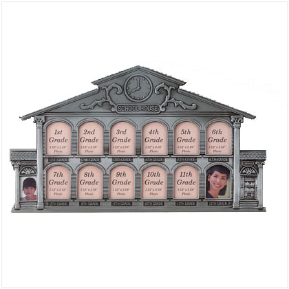 Pewter School House Collage Picture Frame