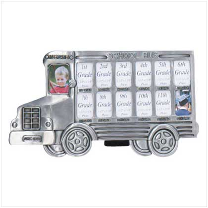 Pewter School Bus Collage Picture Frame
