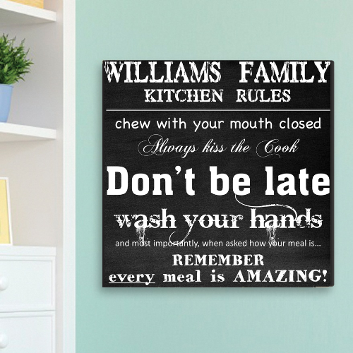 Personalized Family Kitchen Rules Canvas Print