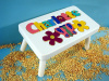 Classic White Wooden Flower Name Puzzle Step Stool