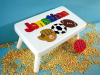 Classic White Wooden Sports Name Puzzle Step Stool