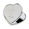 Personalized Inspirational Heart Compact Mirror Engraved Cross