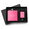 Personalized Pink Matte Flask - Lighter Gift Set